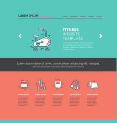 fitness template with line icons vector image