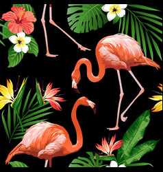 Flamingo bird and tropical flowers background seam vector