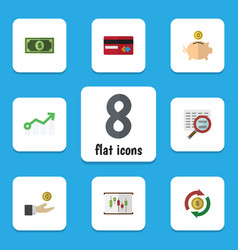 Flat icon gain set hand with coin diagram vector
