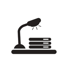 Flat icon in black and white documents lamp vector