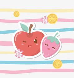 fresh apple and strawberry fruits kawaii vector image