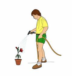 Gardener watering flowers vector