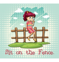 Girl sitting on fence vector image