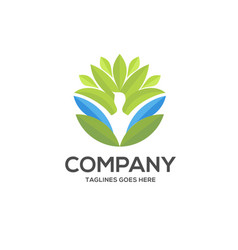 Green leaf and human character logo sign vector