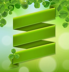 Green Ribbon Poster With Leaves vector image