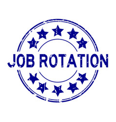 Grunge job rotation word with star icon round vector
