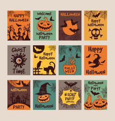 halloween party invitation cards with different vector image