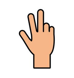 Hand counting with three fingers up icon image vector