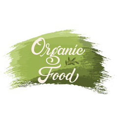 hand drawn lettering organic food on a paint brush vector image