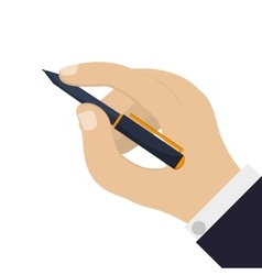 Hand holding elegant pen icon vector