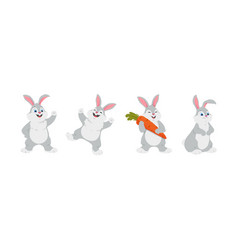 happy rabbits - set of cartoon characters vector image