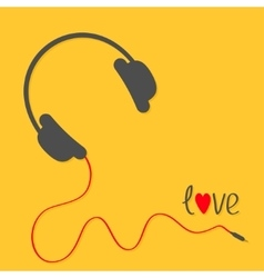 Headphones with red cord Love card Black text vector image