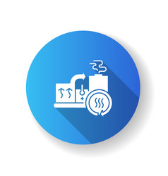 Heat recovery system blue flat design long shadow vector
