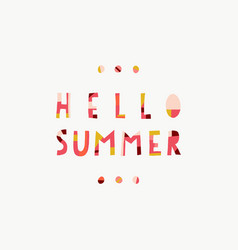 hello summer collage paper cut out style lettering vector image