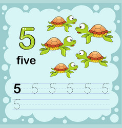 How to count and write a number five turtle vector