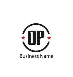 initial letter op logo template design vector image