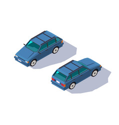 isometric 3d four-seater red classic universal car vector image