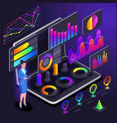 isometry a business lady indicates vector image