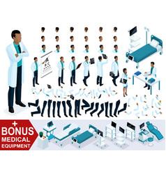 Isometry doctor african american create 3d surgeon vector