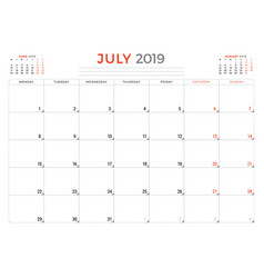 July 2019 calendar planner stationery design vector
