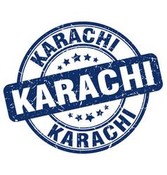 Karachi blue grunge round vintage rubber stamp vector
