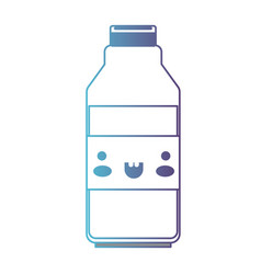 kawaii milk bottle in degraded blue to purple vector image