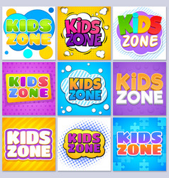 Kids zone banners children game playground labels vector