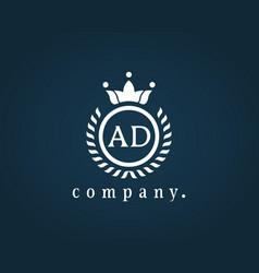 Letter ad a d luxury royal monogram logo design vector