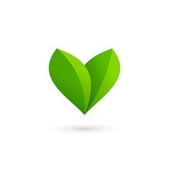 Letter v heart eco leaves logo icon design vector