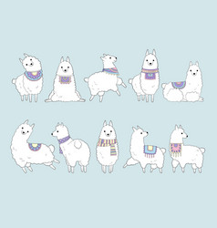 llama cute drawing funny animals in doodle style vector image