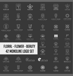 lotus flower logo collection abstract beauty spa vector image