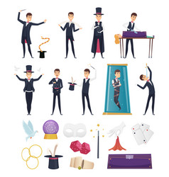 magician show performer in costume and items vector image