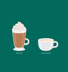 Mocha and flat white coffee drinks vector