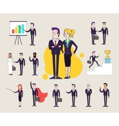 Modern office characters set Different poses and vector