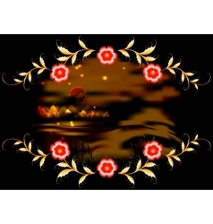 Mountains lake and ornament on dark moonlit night vector