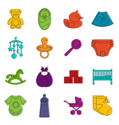 newborn icons doodle set vector image
