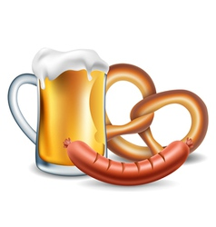 Oktoberfest food beer sausage and pretzel vector image