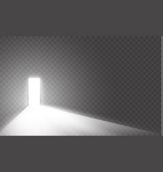 Open the door in a dark room with light passing vector