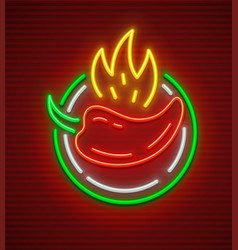 pepper with fire sign for neon vector image