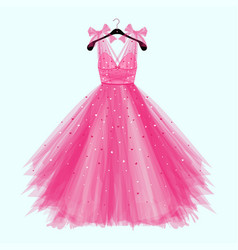 Pink birthday party dress with bow vector