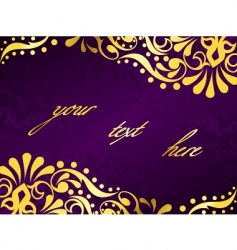 purple background with gold filigree vector image
