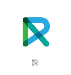 r monogram flat style letter transparent lines vector image