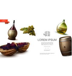 realistic organic natural grapes template vector image