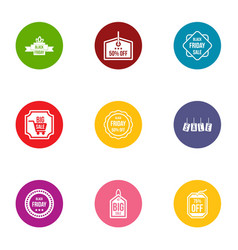 Rebate icons set flat style vector