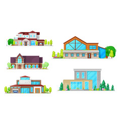 residential houses villas and mansion buildings vector image