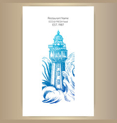 restaurant card menu sketch a seascape vector image
