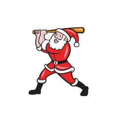 Santa Baseball Player Batting Isolated Cartoon vector image