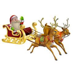 santa claus christmas sleigh vector image
