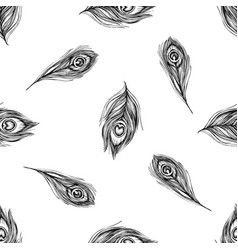 seamless pattern with black and white peacock vector image