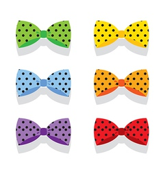 Set Of Colorful Polka Dot Bow Ties vector image